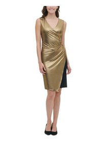 TOMMY HILFIGER Womens Gold Sleeveless V Neck Above