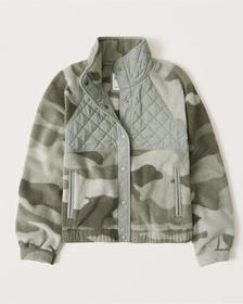 Fleece Bomber Jacket, olive green camo