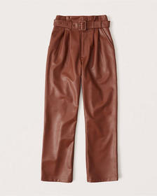 Vegan Leather Belted Ankle Straight Pants, BROWN