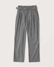 Belted Ankle Straight Pants, grey