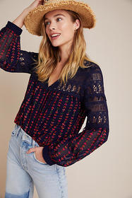 Anthropologie Anya Embroidered Peasant Blouse