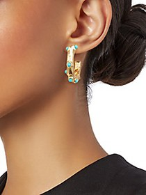 Kenneth Jay Lane Goldtone & Turquoise Hoop Earring