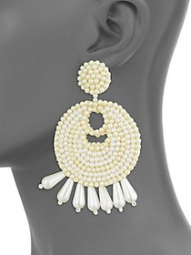 Kenneth Jay Lane Faux Pearl Gypsy Clip-On Earrings