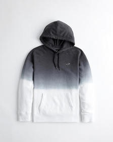 Hollister Ombré Icon Hoodie, BLACK TO WHITE OMBRE