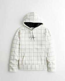Hollister Plaid Embroidered Logo Hoodie, CREAM CHE