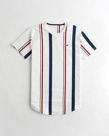 Hollister Stacked Curved Hem T-Shirt, WHITE STRIPE