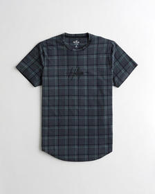 Hollister Plaid Embroidered Logo Graphic Tee, BLAC