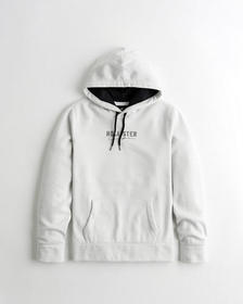 Hollister Embroidered Logo Hoodie, CREAM PATTERN
