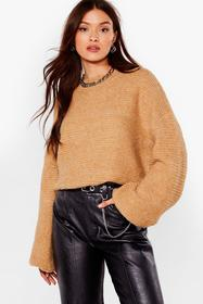 Nasty Gal Camel Do You Be-Sleeve Relaxed Sweater