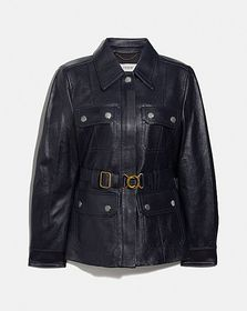 Coach leather belted heritage jacket