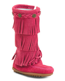 MINNETONKA Suede 3 Layer Fringe Boots (Toddler)