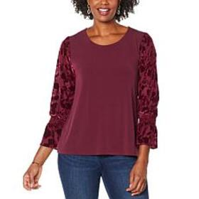 """As Is"" Colleen Lopez Sheer Burnout Puff-Sleeve To"