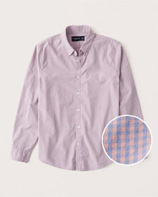 Poplin Button-Up Shirt, PINK AND BLUE MICROCHECK