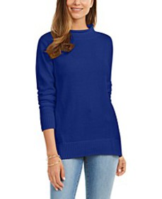 Rolled Mock-Neck Cotton Sweater, Created For Macy'