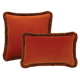 Fringed Signature Velvet Pillow Cover - Persimmon