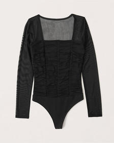 Long-Sleeve Ruched Mesh Bodysuit, BLACK