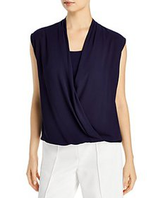 T Tahari - Wrap Front Sleeveless Top