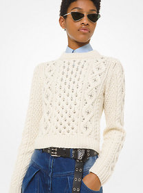 Michael Kors Studded Hand-Knit Cable Cashmere Swea