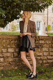 Anthropologie Faux Leather Pleated Mini Skirt