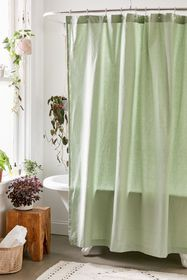 Washed Cotton Solid Shower Curtain