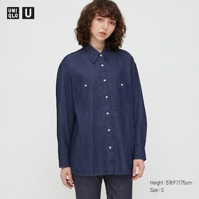 Women U Denim Oversized Long-Sleeve Shirt, Blue, M