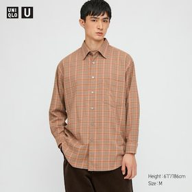 Men U Light Flannel Wide-Fit Checked Long-Sleeve S