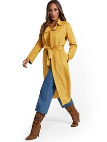 Faux-Suede Wrap Trenchcoat - New York & Company