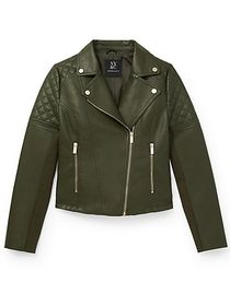 Faux Leather Asymmetrical Moto Jacket - New York &