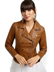 Faux Leather Snap Moto Jacket - New York & Company