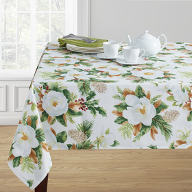 Winter Magnolia Print Damask Print Tablecloth