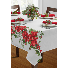 Festive Bouquet Print Damask Print Tablecloth