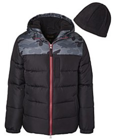 Toddler Boys Solid Contrast Puffer with Fleece Hat