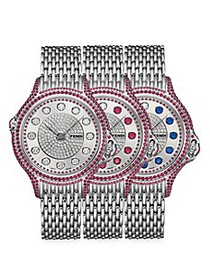 Fendi Crazy Carats Stainless Steel Diamond & Ruby