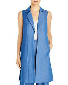 T Tahari - Notch Collar Long Vest