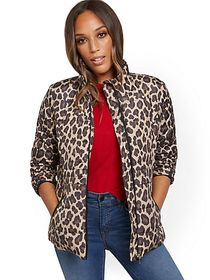 Leopard-Print Seamed Puffer Jacket - New York & Co
