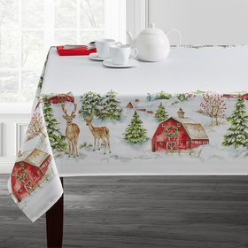 Country Holiday Print Damask Tablecloth