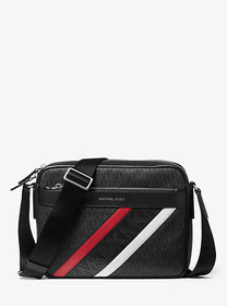 Michael Kors Greyson Striped Logo and Leather Came