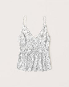 Pleated Satin Cami, WHITE DOT