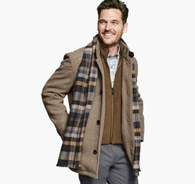Johnston Murphy Heathered Wool Coat with Bib