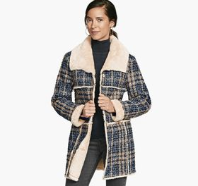 Johnston Murphy Faux-Fur Lined Boucle Coat