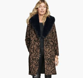Johnston Murphy Marble-Print Coat with Faux-Fur Co