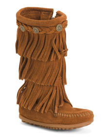 MINNETONKA 3 Layer Fringe Suede Boots (Toddler)