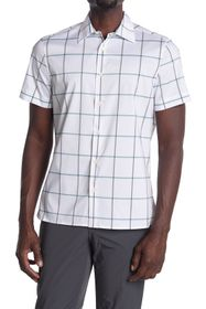 Perry Ellis Short Sleeve Windowpane Button-Down Sh