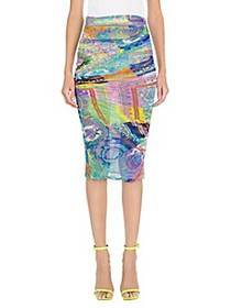 Versace Stretch Tulle Baroque Multicolor Ruched Sk