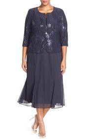 Alex Evenings Sequin Mock Two-Piece Dress with Jac