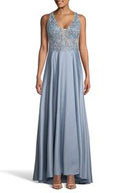 XSCAPE Embroidered Satin A-Line Gown