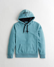 Hollister Embroidered Logo Hoodie, DARK TURQUOISE