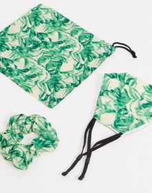ASOS DESIGN palm print face covering with pouch &