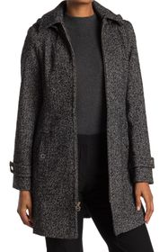 Michael Kors Zip Front Wool Blend Hooded Coat