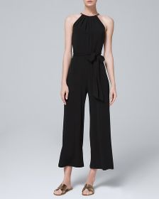 PETITE CHAIN HALTER CROPPED JUMPSUIT